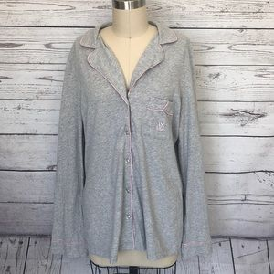 Victoria's Secret Grey Pink Button Down Pajama Top
